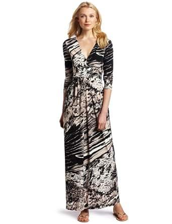 BCBGMAXAZRIA Women's Pearl Wrap Maxi Dress, Soy Chai Combo, Medium