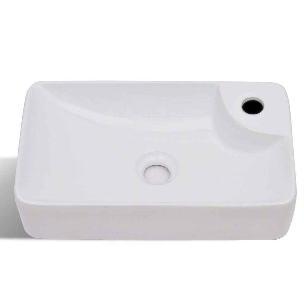 Festnight Bathroom Ceramic Vessel Sink Above Counter White Countertop Vanity Sink Art Basin with Faucet Hole for Lavatory Contemporary Style