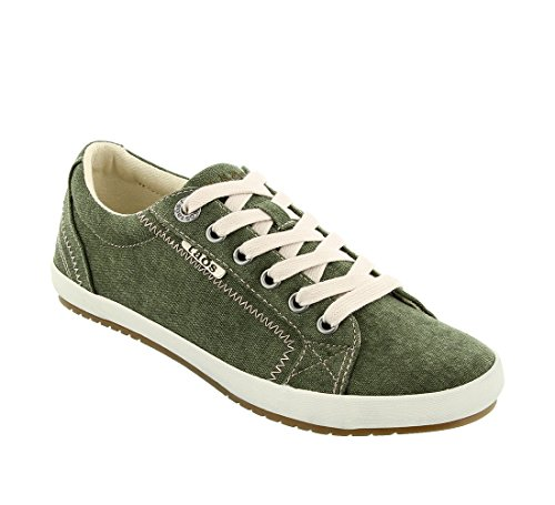 Olive Canvas Footwear - Taos Footwear Women's Star Olive Wash Canvas Sneaker 7.5 B (M) US