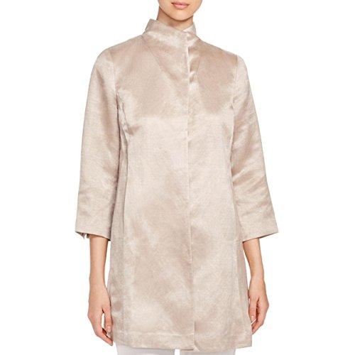 Linen Silk Coat - Eileen Fisher Womens Linen Silk Jacket Tan S