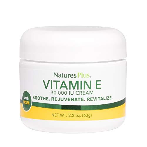 Natures Plus Vitamin E Cream - 30,000 IU, 2.2 oz - Helps Relieve Dry Skin, May Soothe Minor Skin Irritations, Contains MSM, Aloe Vera, Vitamins A & D - Vegan, Vegetarian