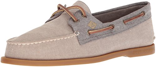 Sperry Top-Sider Men's a/O 2-Eye Chambray Boat Shoe, Tan/Chocolate, 13 Medium US