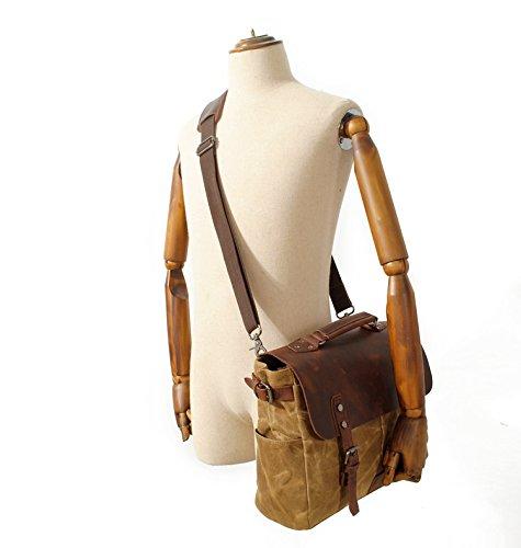 """suvom Hombres de piel portátil de 14""""vintage de lona bolso bandolera maletín impermeable hombro bolso bandolera + bolsillo para botella de agua verde Verde militar L caqui"""