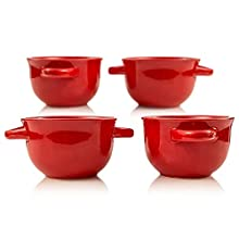 Soup Crocks with Handles, Ceramic Make, Great for Chili, Soup, by KooK, 22oz, Set of 4 (red)
