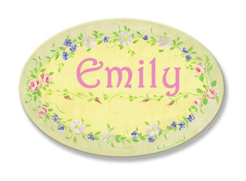 (The Kids Room by Stupell Emily, Yellow with Green Floral Border Personalized Oval Wall Plaque)