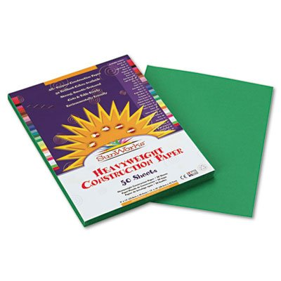 SunWorks Construction Paper, 58 lbs., 9 x 12, Holiday Green, 50 Sheets/Pack