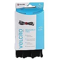 VELCRO Brand One-Wrap Reusable Ties, 12 mm x 20 cm - Black, Pack of 6