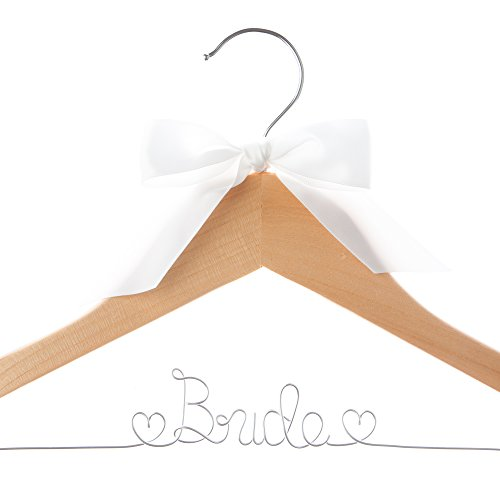 Bride Wedding Dress Hanger Natural Wooden Hangers (Natural Wood Silver Wire)