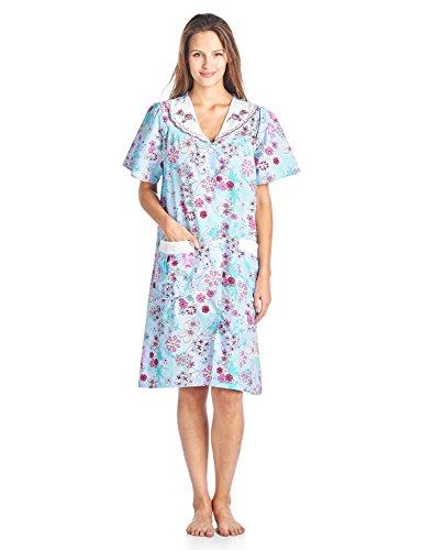 Casual Nights Women's Woven Snap-Front Lounger House Dress - Blue - (V-neck Muumuu)