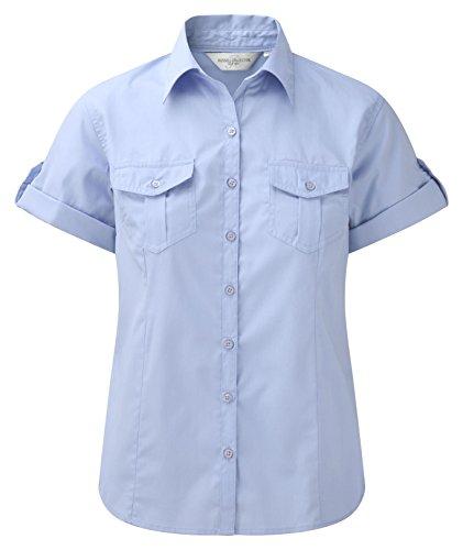 Russell Collection Damen Twill-Bluse, krempelbare kurze Ärmel, blau, XL/16