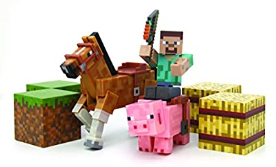 Minecraft Figure Set Overworld Saddle Pack (Steve w/whip Chestnut Horse , Pig w/saddle , 2 x hay bale , 2 x grass blocks)