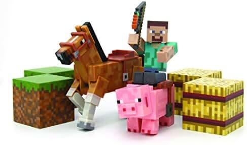Minecraft Figure Set Overworld Saddle Pack (Steve w/whip Chestnut Horse , Pig w/saddle , 2 x hay bale , 2 x grass blocks)
