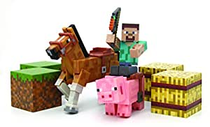 amazoncom minecraft figure set overworld saddle pack