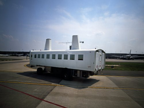 24 x 36 Giclee Print of Mobile lounges That Locals Call People Movers ferrying Passengers to Their Planes from The Terminal at Dulles International Airport Chantilly Virginia r28 [Between 1980 ()