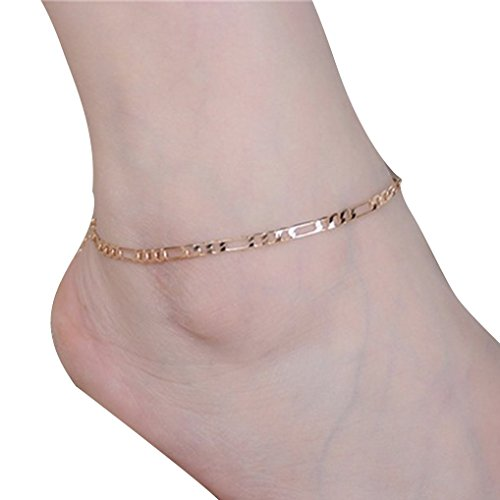 [Bolayu Women Lady Simple Fashion Gold Anklet Metal Chain Anklets (Gold)] (Gold Womens Ankle Bracelet)