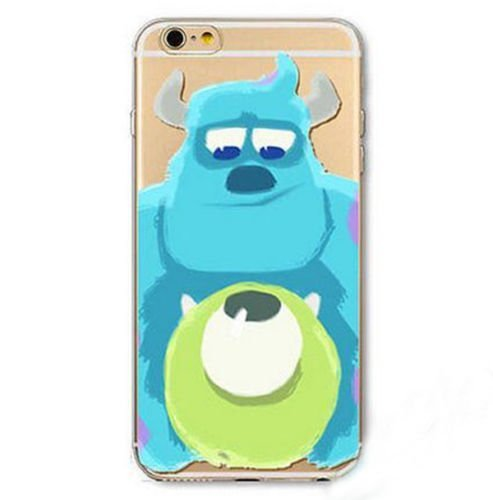 DECO FAIRY Compatible with iPhone XR, Cartoon Anime Animated BFF Blue Green Monsters Transparent Translucent Fkexible Silicone Cover Case (Iphone 5 Hello Kitty Monster Inc)
