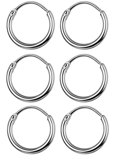 WOXIA 3 Pairs Stainless Steel Endless Hoop Earrings for Men Women Small Cartilage Earrings Nose Ring,10MM