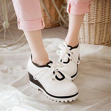 Femme Printemps Chaussures à Automne Combinaison CompenséBlanc ggx Décontracté Lacet Gladiateur LvYuan Gladiateur Talons white Similicuir Habillé Talon 05qUAEx