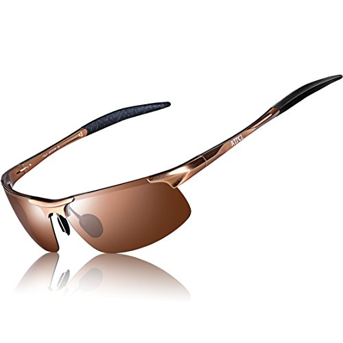 ATTCL Men's Fashion Driving Polarized Sports Sunglasses for Men Al-Mg metal Frame 8177Coffee