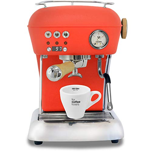 Ascaso Dream Up V3 Mandarin Orange PID Wood Handle Semi-Automatic Espresso Machine – w/Ascaso Cup & Saucer