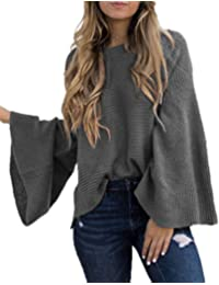 03f08ab632 Women s Casual Kimono Bell Sleeve Patchwork Stripe Loose Fit V Neck  Pullover Sweater Knitted Tops Blouse