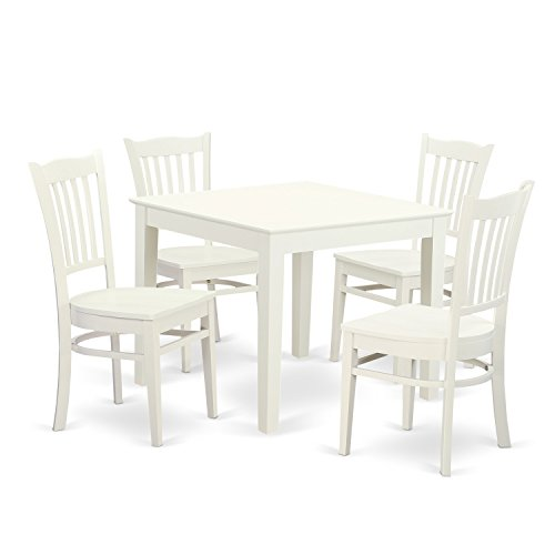 East West Furniture OXGR5-LWH-W 5 Piece Oxford Kitchen Table and Four Solid Wood Dining Chairs in Linen White Finish
