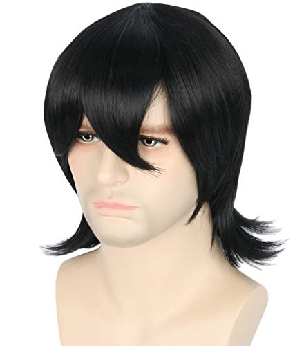 Topcosplay Keith Cosplay Wig Black Short Halloween Costume Wig for Women Men -