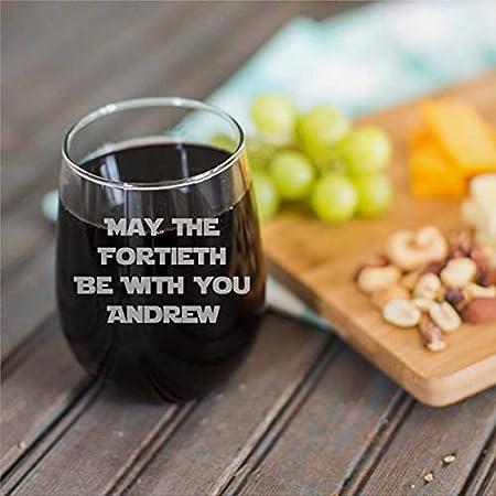 Copa de vino sin tallo, personalizada, divertida, 15 onzas mayo que la personalización sea con usted con nombre copa de vino transparente para vino tinto y blanco