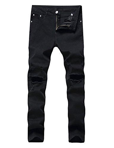 Men's Ripped Skinny Destroyed Holes Jeans Slim Fit Denim Pants, Black, 38