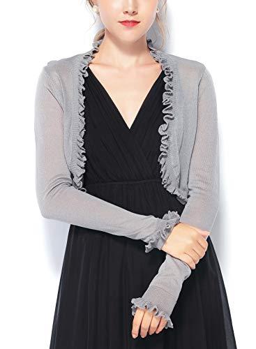 Chic Queen Women's Jersey Knit Open Front Ruffle Edge Bolero Shrug Long Sleeve Cardigan (XXL/GY)