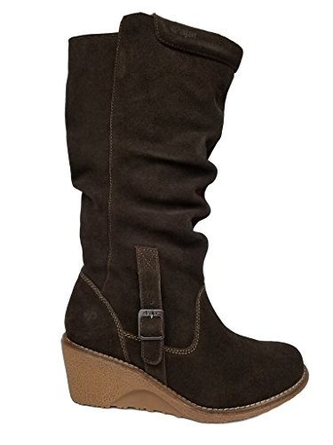 Pajar Women's VALERIE Leather Winter Water-Resistant Boot, DK Brown, 38 M (Suede Slouch Wedge Boot)