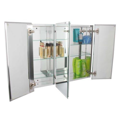 Jacuzzi PD47000 26'' H x 30'' W x 5-1/4'' D Triple Door Medicine Cabinet, Silver Aluminum
