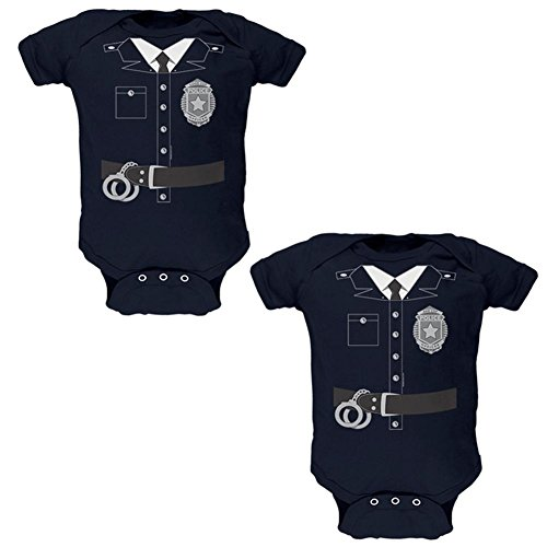 Old Glory Halloween Twins Good Cop Bad Cop Costumes Soft Twins Baby One Piece Navy 0-3 -