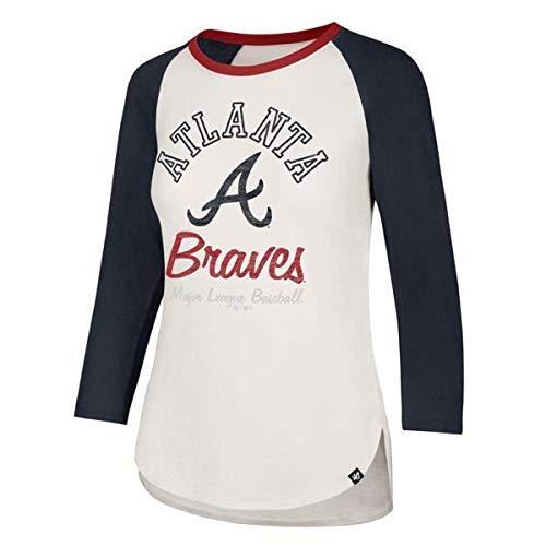'47 Atlanta Braves Women's Splitter 3/4 Long Sleeve Raglan Tee Shirt - MLB White LS T-Shirt (Small)