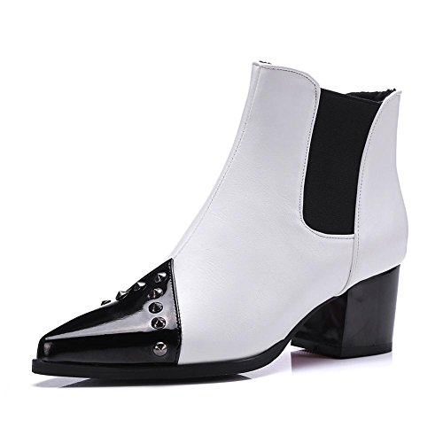 NVXIE Womens Short Boots Rough High Heel Pointed Toe Artificial PU Rivets Fight Color Fall Winter Party Work WHITE-EUR35UK3 YoNrvjsY