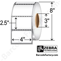 Zebra Technologies 10000294 Z-Perform 2000D Paper Label, Direct Thermal, 4 x 2.5, 3 Core, 8 Od, 2280 Labels per Roll (Pack of 4)