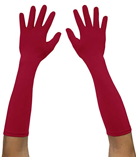 - Seeksmile Adult Spandex Elbow Length Costume Gloves (Free Size, Red)