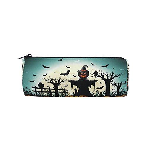 WOZO Halloween Pumpkin Scarecrow Bat Tree Pen Pencil Case Makeup Cosmetic Pouch Case Travel Bag -