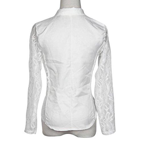 la larga encaje de ropa chaqueta mujeres Chaqueta ganchillo Mujeres o Challeng Blazer Sexy de blanco 1PC las Blazer moda l calle manga de de blanco de abrigo pequeña a qq0HT