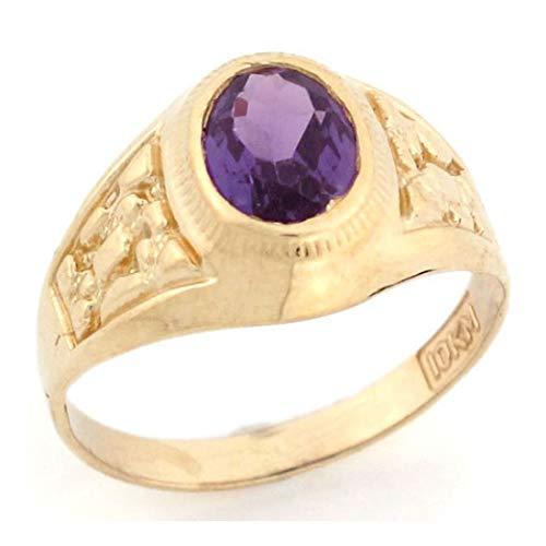 10k Gold Simulated Alexandrite June Birthstone Diamond Cut Nugget Unisex Ring (Style# 2808) - Size 7.25 (10k Alexandrite Ring Gold)
