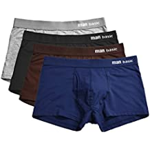 YVWTUC Male Man Basic Boxer Briefs Solid Color 4-Pack Underwear