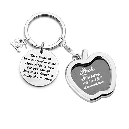 (FUSTYLE Graduation Gift Take Pride in How Far You Have Come Keychain Inspirational Letters Graduates Gifts for Him/Her (Picture Frame Keychain))