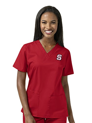 WonderWink Women's Plus Size North Carolina State University V-Neck Top, Red, (Red North Carolina State University)