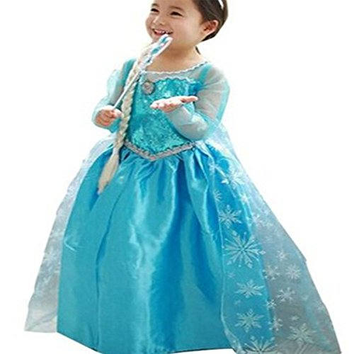 [CXFashion Elsa Baby Girls Toddlers Princess Party Dress Up Costume Anna (4Years, Dress)] (Baby Anna Costumes Frozen)