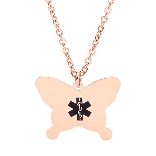 linnalove Rose Gold Butterfly Medical Alert Necklace for Women,gilrs and Kids (Free Engraving) ()
