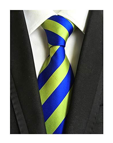Elfeves Men's Stripe Blue Yellow Jacquard Woven Silk Tie Elegant Formal Neckties (Lemon Satin Striped)