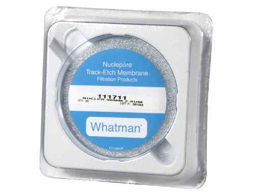 Whatman 111711 Polycarbonate Nuclepore Track-Etched Membrane Filter, 90mm Diameter, 2.0 Micron (Pack of 25) - Whatman Polycarbonate Membrane Filters
