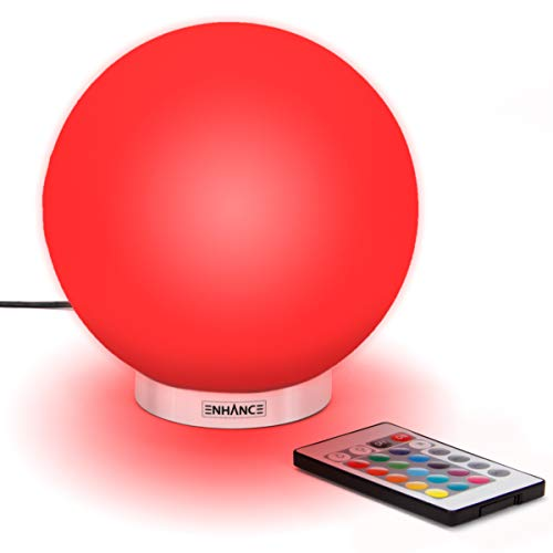 ENHANCE MoodBright Silicone Night Light - LED 5.9 Inch Kid Night Light Globe - Wireless Remote Control, 4 Lighting Modes and Dimmable - Soft, Safer Silicone Won't Shatter