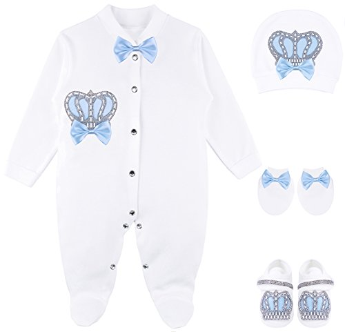 Lilax Baby Boy Jewels Crown Layette 4 Piece Gift Set 0-3 Months - Fancy Layette Baby