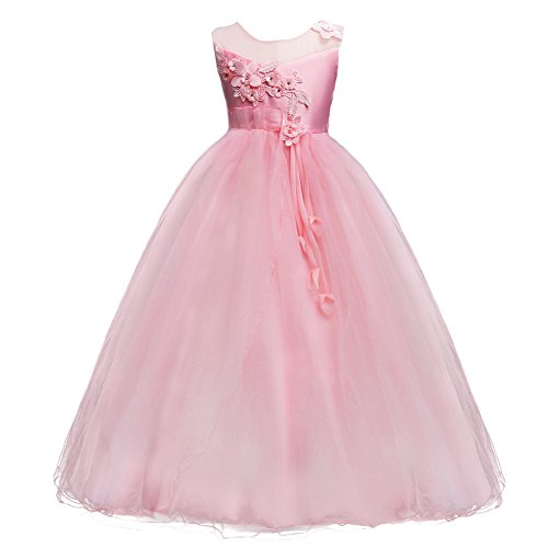 IBTOM CASTLE Princess Flower Long Girls Pageant Tutu Dresses Kids Prom Puffy Tulle Dance Party Fall Wedding Bridesmaid Ball Gown Pink 6-7 Years